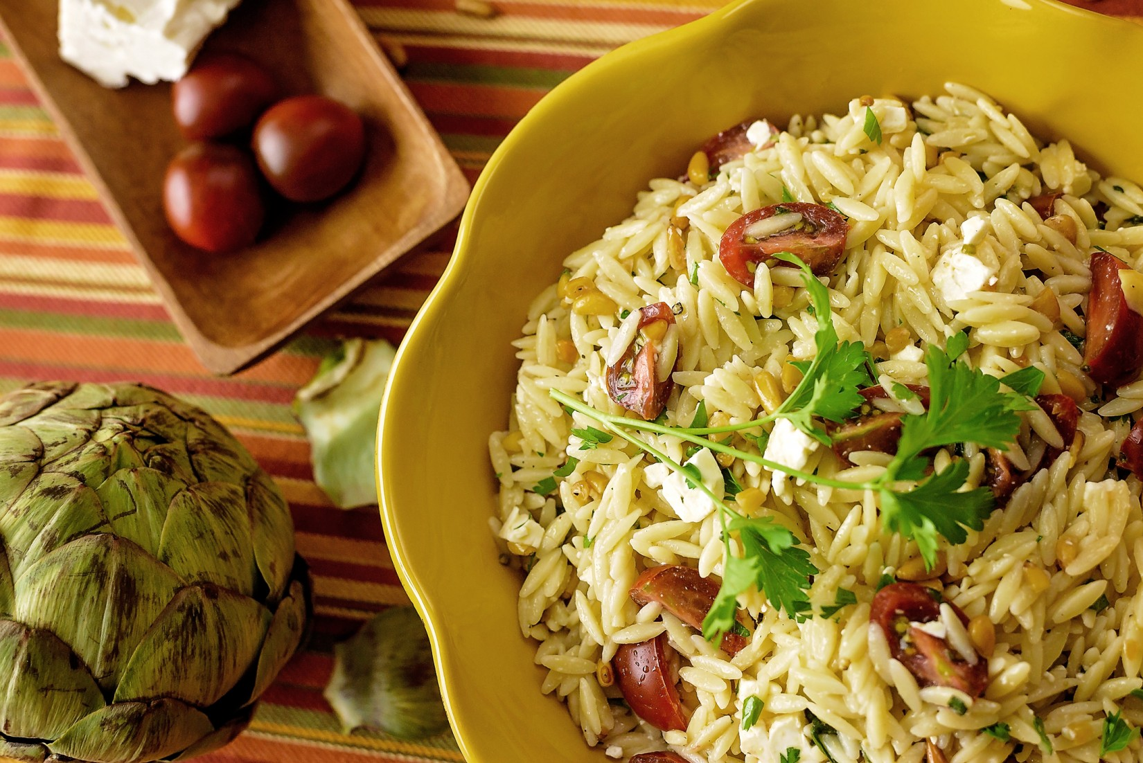 Mediterranean Orzo with Artichoke and Pine Nuts